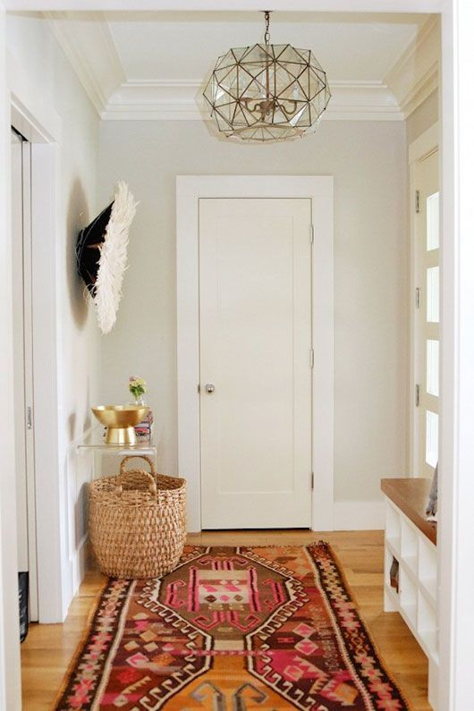 Completely revamp basic space with decor. A printed ikat style rug instantly revitalizes and adds a touch of bohemian style.