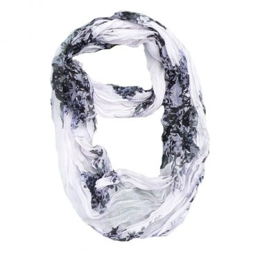 Floral Voile Infinity Scarf - white