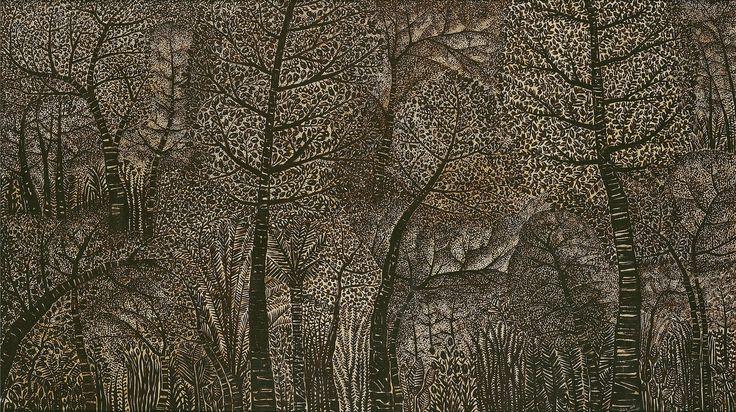 "Rain Forest"", 1977 Oil on canvas 140 x 250 cm by Widayat"