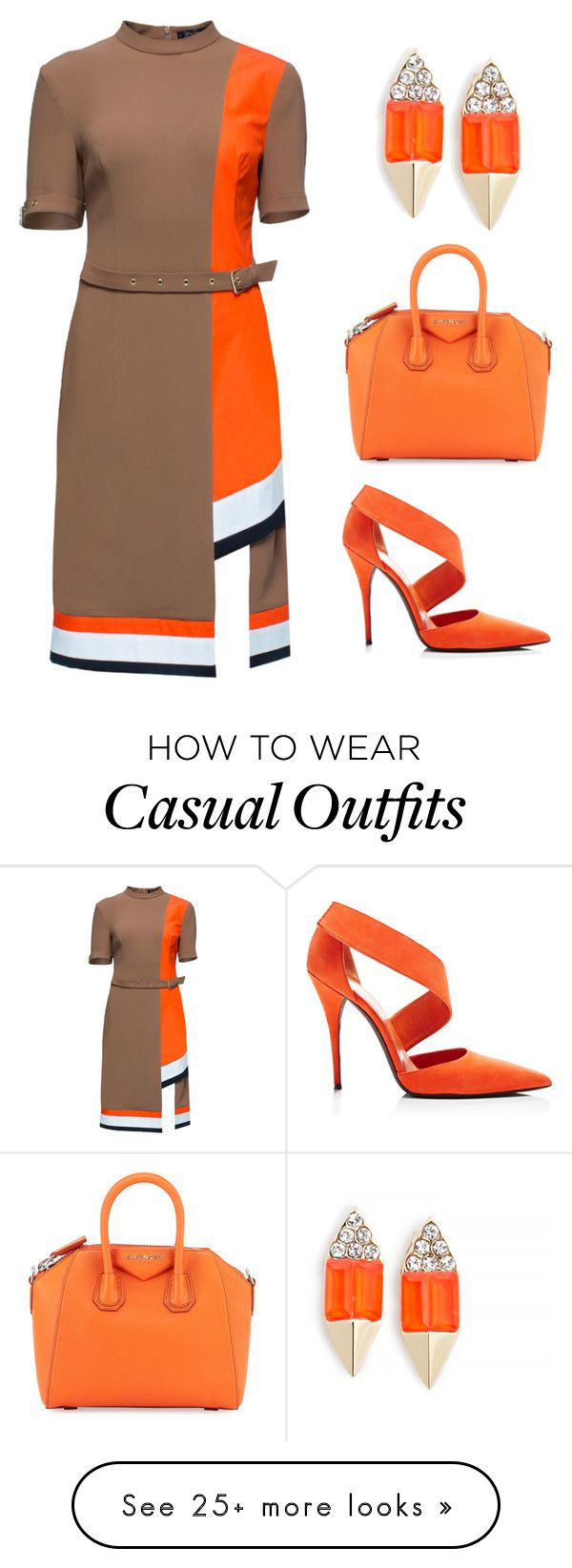 """Orange Work Casual"" by karmen-robles on Polyvore featuring Lattori, Narciso Rodriguez, Givenchy and Carolyn Colby"