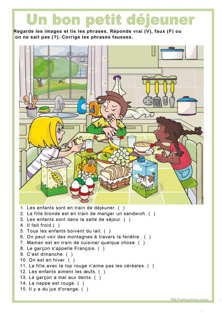 Description image - Un bon petit déjeuner fiche d'exercices - Fiches pédagogiques gratuites FLE