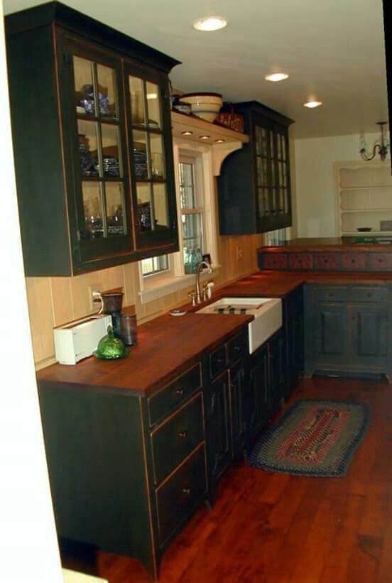 Black rustic kitchen cabinets Paint island black and distress, with rustic  wood counter top?