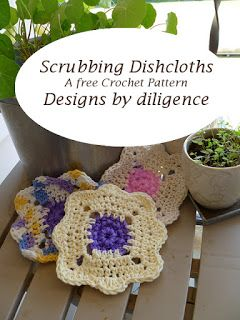A free easy crochet pattern for a scrubbing dishcloth. The scrubber is crocheted right into the dishcloth.