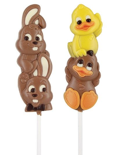White & Milk Chocolate Bunny & Duck Lollipops
