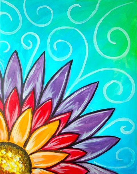 Rainbow Flower whimsical painting with swirls.