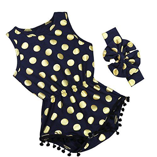iiniim S��es Baby M�dchen Strampler Spielanzug Sommer Overall Bodysuit Kleidung Outfit Mit Stirnband Marineblau 86-92/18-24 Monate