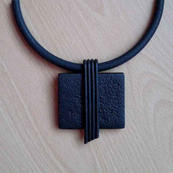 Black Polymer Clay Pendant by IlianaTosheva on Etsy, $85.00