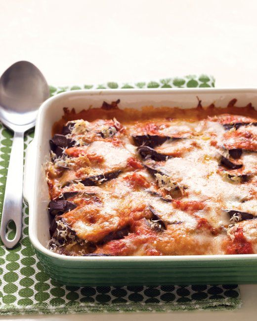Lighter Eggplant Parmesan: Baked eggplant and a healthier bechamel match up in an Italian classic made virtuous. The cheeses are on top, instead of in layers, with a creamy pink sauce underneath.