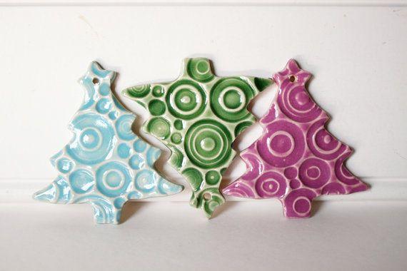 Ornamenti di ceramica Set di 3 ornamenti di di MissPottery su Etsy