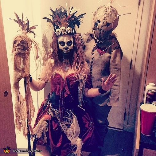 Wow! One year my husband was Baron Samedi, and he used some of my old vintage fabric to add some pizazz to his costume..then he got paint on it lol...this pic somehow reminded me of our photo..Witch Doctor & Voodoo Doll Halloween Costume | Costume_Works