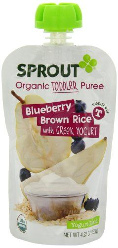 Sprout Brown Rice with Greek Yogurt, Blueberry, 4.22 Ounce (Pack of 5), Wholesome fruits and grains are combined with Greek Yogurt for a delicious anytime snack to power your child throughout their busy day.,#spout #pouches for more information visit us at  www.coffeebags.co.za