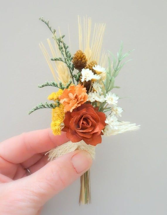 Fall Wedding Real Touch Tulip and Craspedia Boutonniere Customize for your Wedding Colors