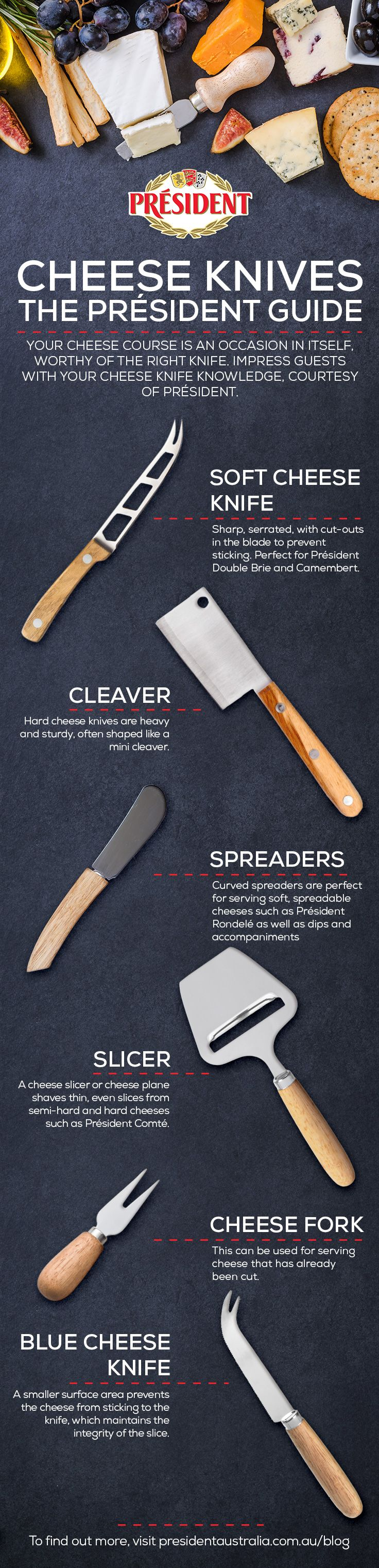 A great set of cheese knives is essential to anyone who loves cheese. Not sure which one to use? Look no further than the Président Guide to Cheese Knives. #triedforless