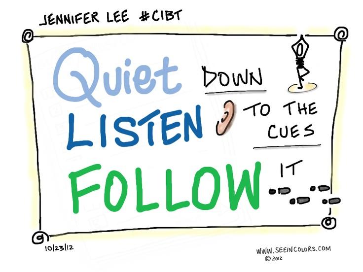 Quiet, Listen, Follow | Creativity in Business Telesummit #CIBT |   Jennifer Lee, Right Brain Business Plan | Date:10/23/12  | Sketchnotes by Lisa Nelson of seeincolors.com