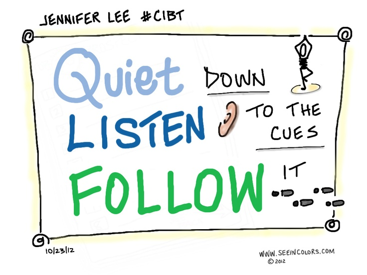 Quiet, Listen, Follow | Creativity in Business Telesummit #CIBT |   Jennifer Lee, Right Brain Business Plan | Date:10/23/12  | Sketchnotes by Lisa Nelson of seeincolors.com