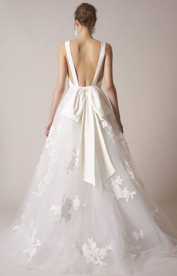 25 best ideas about bow wedding dresses on pinterest for Open back bow wedding dress