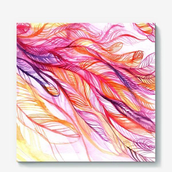 Холст «розовые перья, акварель»