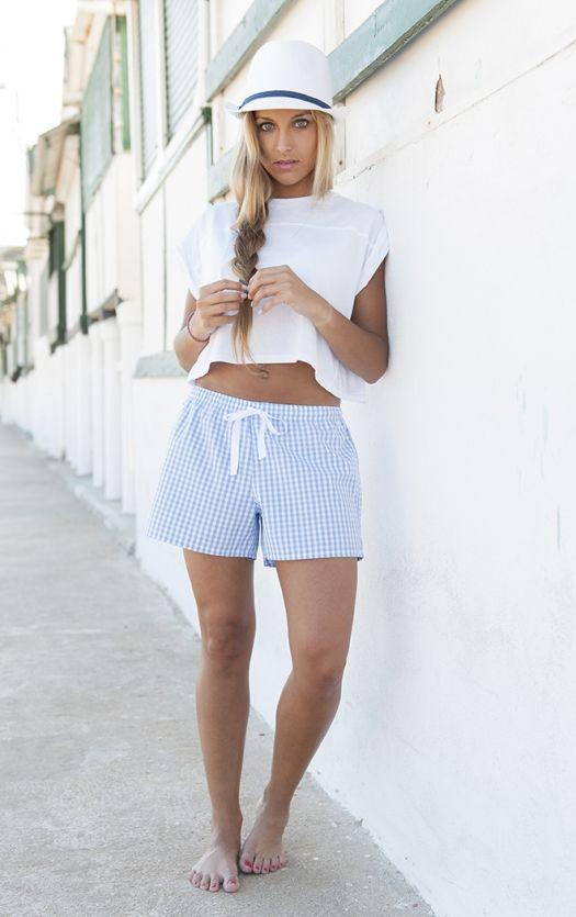 Short Cuadrito azul Women