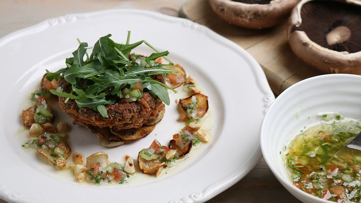 Gebratene Portobello-Pilze mit Sauce vierge   Rezepte   ARD-Buffet
