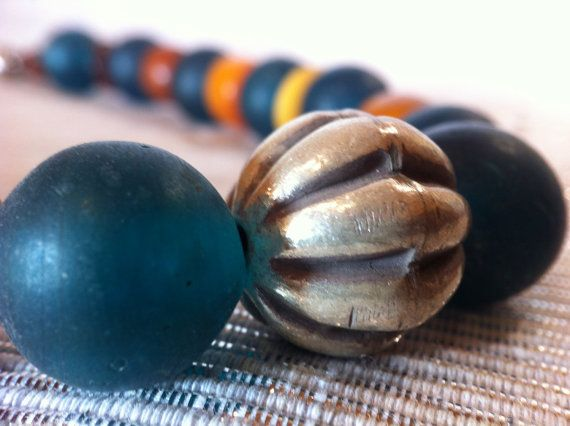 Antique Venetian & Copal-Amber Trade Beads Necklace by monuandmonu