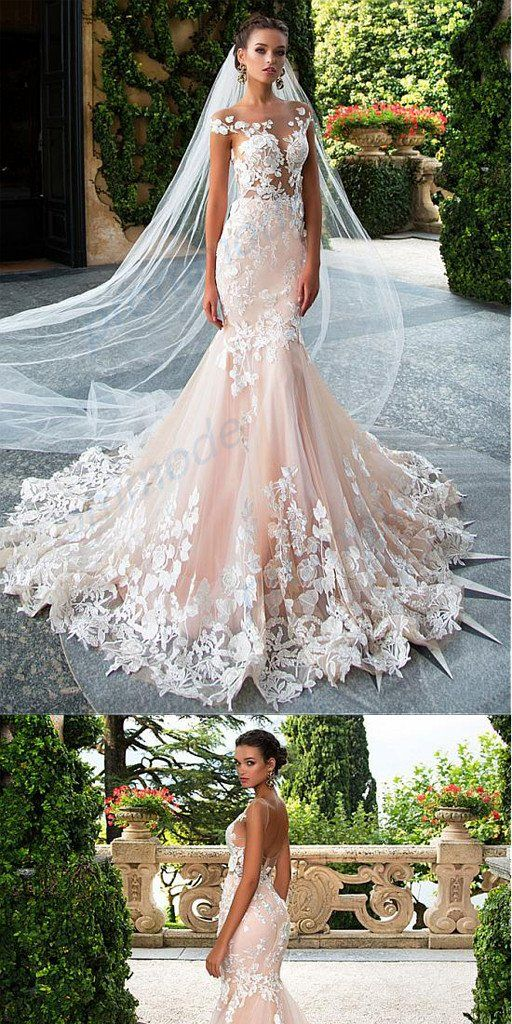 3dab396040122 Charming Tulle Pink Off-shoulder Mermaid Wedding Dresses With Lace  Appliques,WDY0187#wedding dress#
