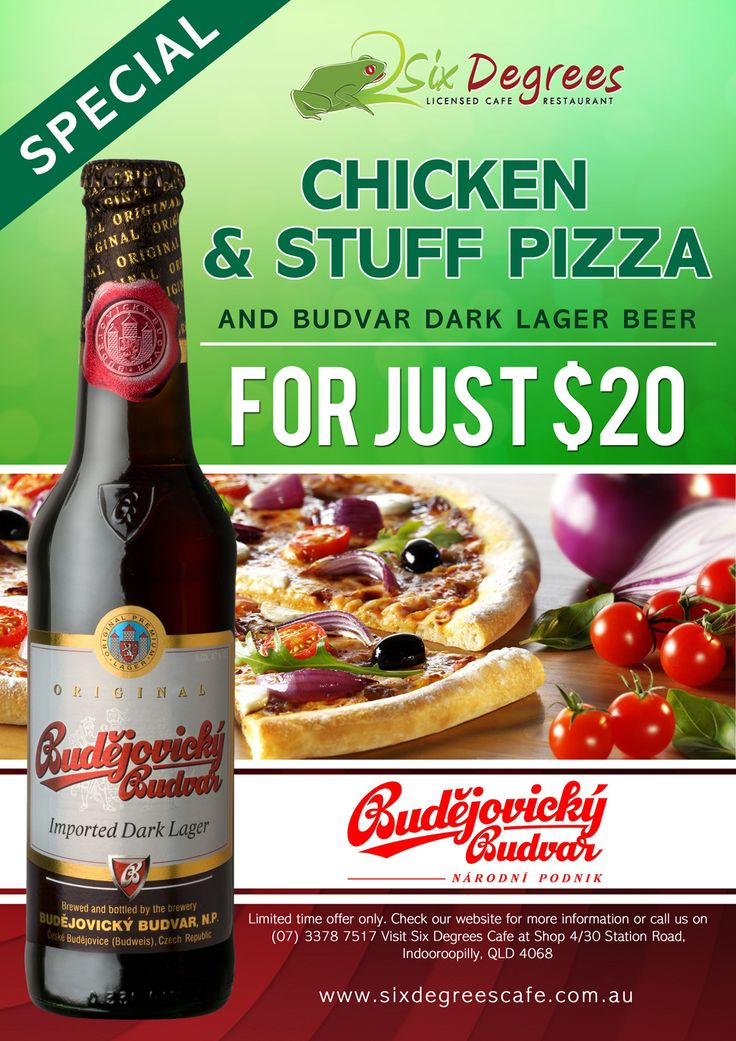 Special Promotion Chicken Stuff Pizza and Budvar Dark Lager Beer for just $20 ONLY!!!  To make a reservation, please call us on +61 7 3378 7517 or Book online at www.sixdegreescafe.com.au  Visit us at Shop 4/30 Station Road, Indooroopilly, Brisbane, Queensland, Australia  ‪#‎chickenpizza‬ ‪#‎chicken‬ ‪#‎sixdegreescafe‬ ‪#‎food‬ ‪#‎pizza‬ ‪#‎chickenstuffpizza‬ ‪#‎budvar‬ ‪#‎budvardarklagerbeer‬ ‪#‎beer‬