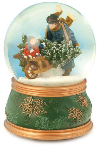 "MusicBox Kingdom 51035 Snow Globe Wheel Barrow Music Box Playing ""O Christmas…"
