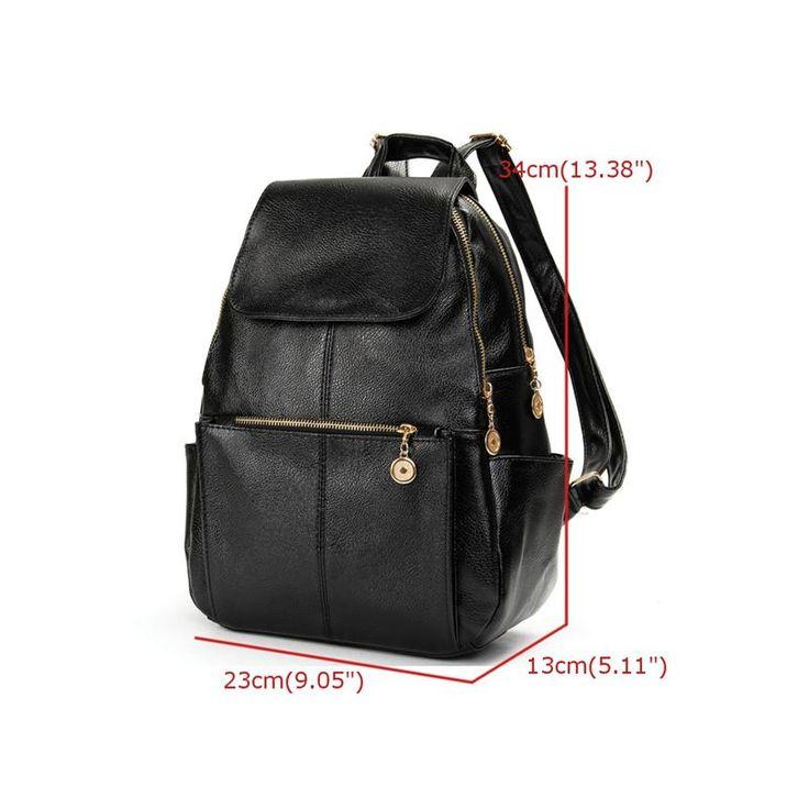 Мода женщины рюкзаки кожаные сумки на ремне ретро корейски опрятный стиль студент колледжа школьный черный упаковка Mochila девушка Bolsa купить на AliExpress