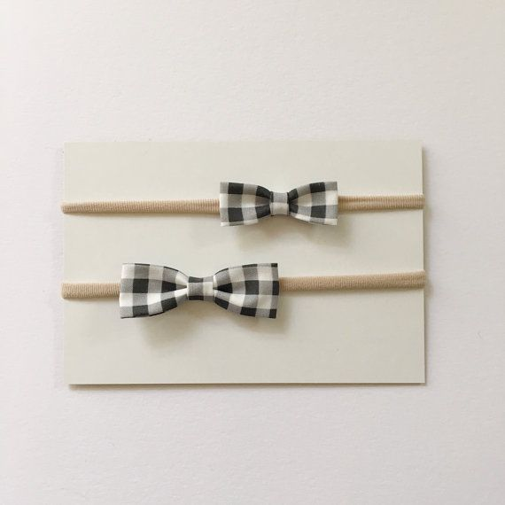 Black and White Plaid Bow Headband, nylon, preemie, baby, newborn, infant, toddler, girl, one size fits most, birthday gift, baby shower, fabric bow, etsy, etsy shop