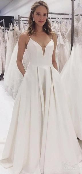 Simple Spaghetti Straps A-line Cheap Wedding Dresses Online, Cheap Bri – SposaDresses #wedding #weddingdresses #bridal #cheapweddingdresses #bridaldresses #bridalgowns #weddingidea