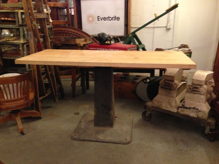 A Massive Industrial Drill Press Base And Recycled Bowling Alley Wood Will  Become The New Island