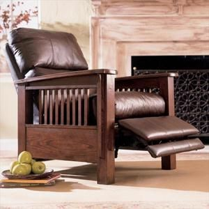 Mission Style High Leg Recliner With Leather Upholstery