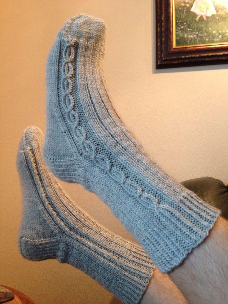 'Shepherds socks' from the book 'Sokker, strikking hele året'. Autor: Bitta Mikkelborg. Yarn: Smart, from 'Sandnes Garn'.