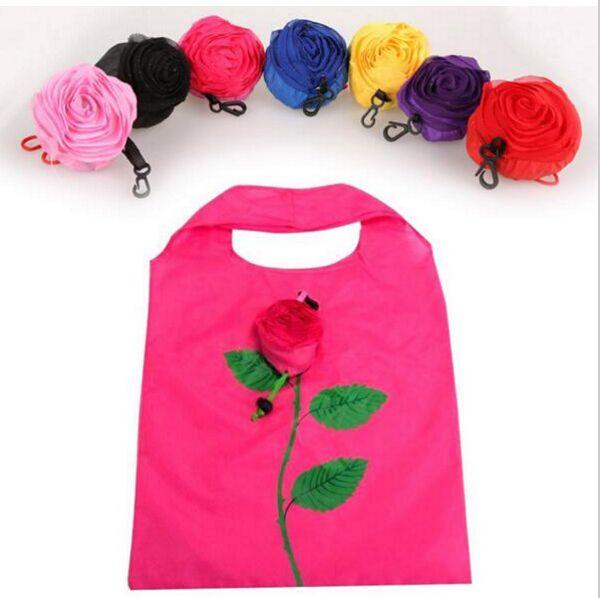 Nuovo Modo di Rosa Fiori Sacchetto Riutilizzabile Pieghevole Shopping Bag Sacchetti Della Spesa di Viaggio Tote Trasporto di Goccia