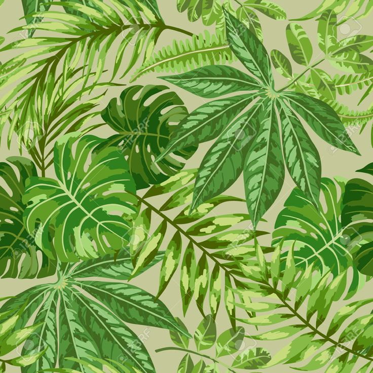 Seamless exotic pattern with tropical leaves on a beige background...