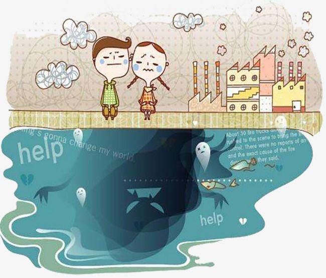 La contaminación del agua de dibujos animados, La Contaminación Del Agua, Aguas Residuales, Cartoon Imagen PNG