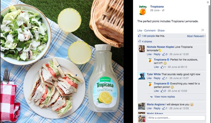 This is an example of a great idea with poor execution. I love the simple, fun, perfect-for-summer message that Tropicana can enhance your picnic. But the low quality and bad angle of the photo just ruins it. It's blurry in places, the food doesn't look very appetizing and b/c it's from above I can't even register what that supposedly irresistible lemonade looks like in the glass.