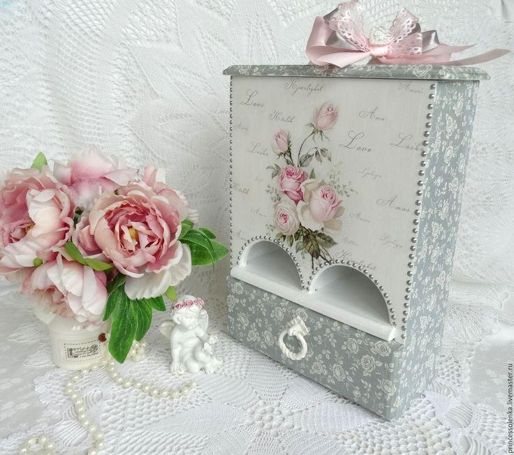 """Купить """"Розочки""""  Чайный буфет,  двойной домик для чая, чайный домик - бледно-розовый, винтажный"""