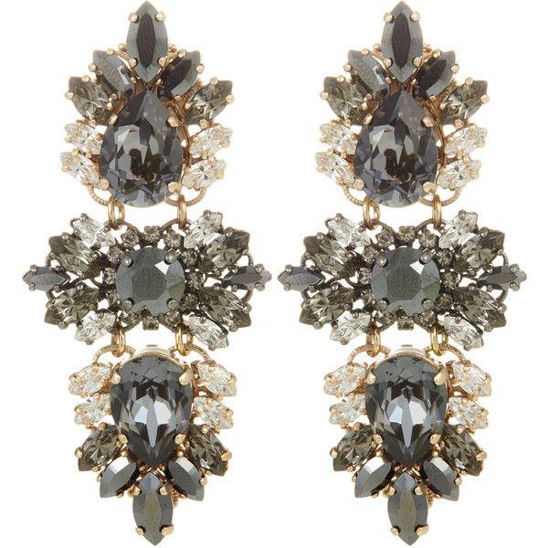 ANTON HEUNIS Swarovski Crystal Floral Earrings ($279) ❤ liked on Polyvore featuring jewelry, earrings, accessories, glsyblk, statement earrings, swarovski crystals jewelry, anton heunis jewelry, vintage filigree earrings and earrings jewelry