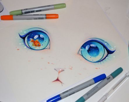 Love the goldfish in the left eye, Art by Lighane