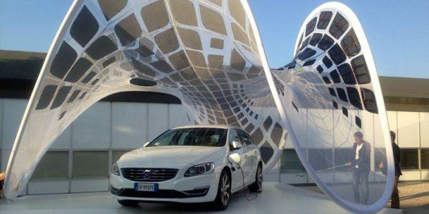 Volvo's overdekte laadstation.