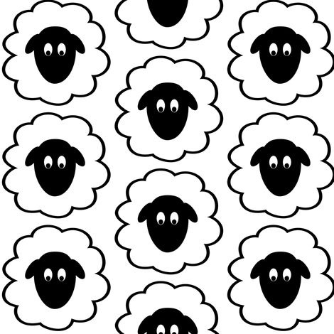 Fluffy Sheep Faces Fabric By Themadcraftduckie On
