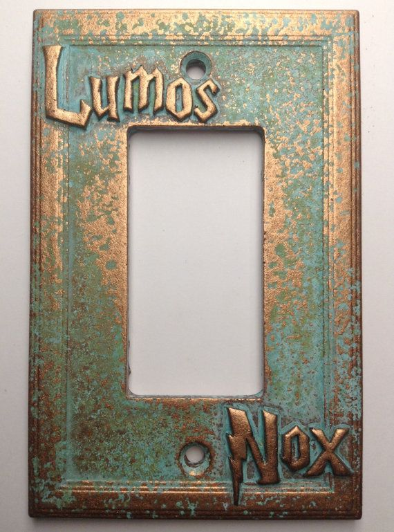 Lumos/Nox (Harry Potter) Decorator Switch/Outlet Cover. Will work for both. Stone textured, feels similar to sandstone or Aged Copper in color, genuine Patina. Raised/Embossed design. Includes 2 Screws painted to match (6-32 3/4 Ovalhead). Also available in Double Decorator Switch/Outlet https://www.etsy.com/listing/281193030/lumosnox-harry-potter-double-decorator  Fits all Standard US light switches. Plate measures 3-1/4x5. (8.25cmx12.7cm)