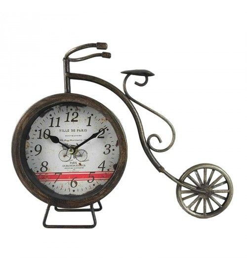 METAL 'BIKE' TABLE CLOCK IN ANTIQUE GOLDEN COLOR 30X6X23