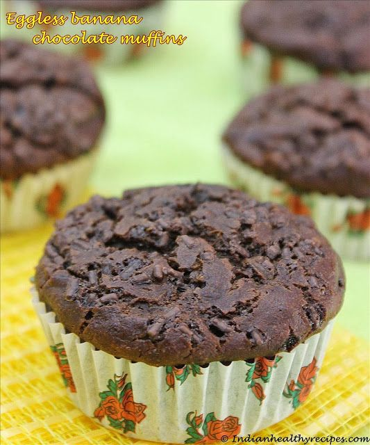 Banana Chocolate Muffins - butter free, oil free, refined sugar free