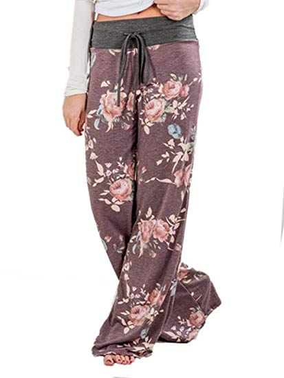 3e5ca413485 Amazon.com  iChunhua Women s Comfy Stretch Floral Print Drawstring Palazzo Wide  Leg Lounge Pants  Clothing
