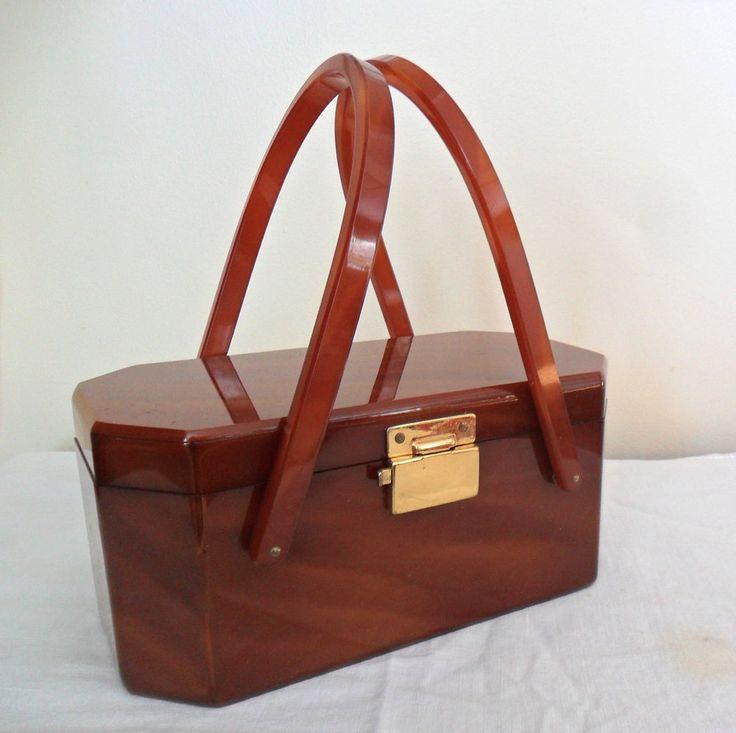 Vintage 1950s Gilli Originals Ny Lucite Erscotch Caramel Plastic Box Purse