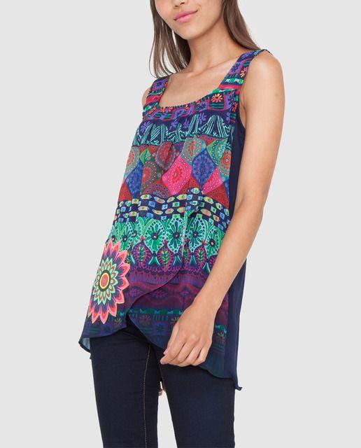 Blusa de mujer Desigual con print delantero y manga larga