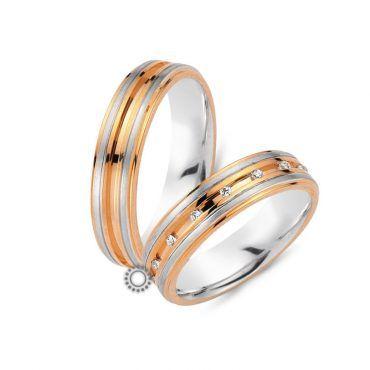 Γαμήλιες βέρες CHRILIA 30 σε ροζ και λευκή διχρωμία εναλλάξ και διαμαντάκια καρφωμένα στην εσωτερική θυρίδα | Βέρες ΤΣΑΛΔΑΡΗΣ στο Χαλάνδρι #βερες #γάμου #wedding #rings #Chrilia