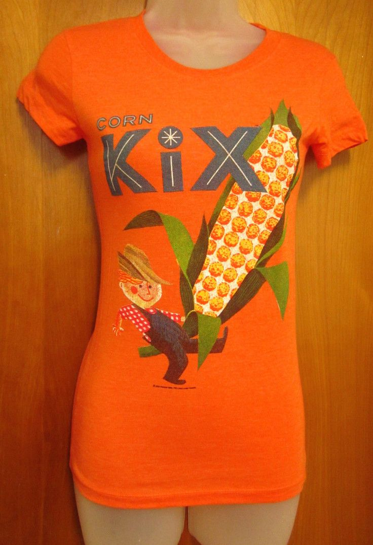 Corn Kix Juniors Small Orange T Shirt General Mills Cereal Farmer Logo Retro